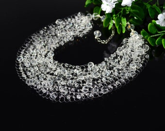 Crystal Illusion Necklace Sparkling Wedding Statement Crystal Necklace for Bride Jewelry Crystal Wedding Necklace Bridesmaid gift Bib