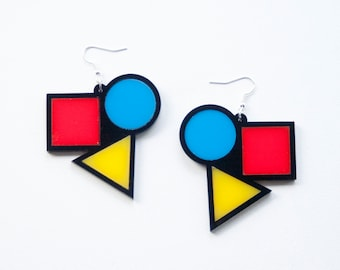 Bauhaus Earrings, Shape Earrings, Circle Earrings, Triangle Earrings, Square Earrings, Contemporary Earrings, Drop Earrings, Art Earrings