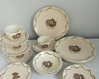 Vintage Royal Crown Early Morn rooster dishes