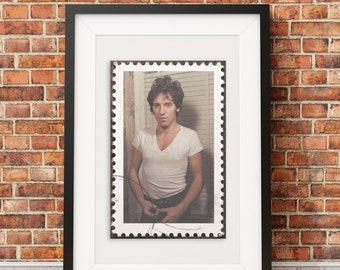 Brucse Springsteen Rock Stamp Style Print