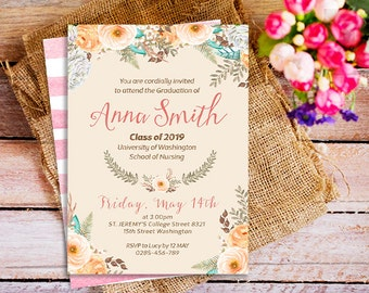 Nursing school graduation invitation medical school floral nurse graduation invitation rn gaduation party nursing graduation invites nurse invites nursing school graduation invitations filmwisefo