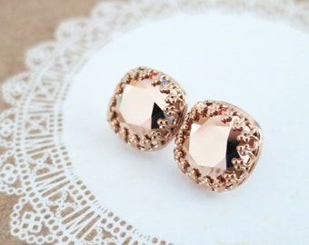 Emma - Rose Gold Swarovski Crystal Rose Gold Ear Studs, Wedding Bridesmaid Earrings Jewelry, Swarovski Studs Square Cushion 10mm