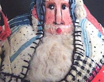"Santa OOAK Primitive Folk Art Santa ""AMERICAN FLAG"" Original Design from Vintage Quilt w/Handmade American Flag & Sack"