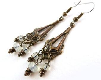 Chandelier Antique Style Earrings, white opalite dangle earrings, vintage brass