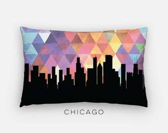 Chicago skyline pillow | geometric Chicago skyline home decor | Chicago Illinois pillow | Chicago skyline purple geometric home decor