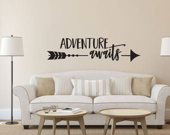 Adventure Awaits Wall Decal - Great For Home, Bedroom And Living Room Decor