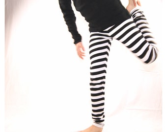 toddler leggings organic cotton sweat with black and white stripes,striped toddler pants,striped leggings,black leggings,white leggings