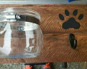 Dog leash holder - dog treat holder, leash hanger, dog sign, home decor