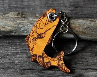 Fishing - fisherman genuine leather keychain