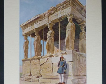 1920s Antique Erechtheion Print, Available Framed, Athens Art, Porch of the Caryatids Photography, Ancient Greek Decor, Temple Architecture