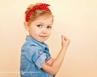 Rosie the Riveter Summer Hair Tie, Adjustable Headband, Rosie Wrap, Bandana, Photo Prop, Rockabilly, Red and White Polka Dot