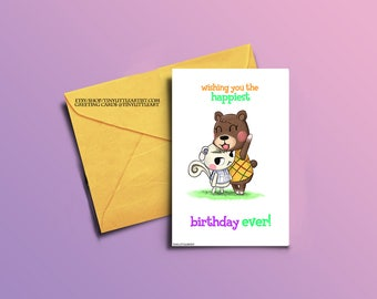Birthday Greeting Card, Maple and Marshall, Animal Crossing based art, print, physical version, adorable artwork