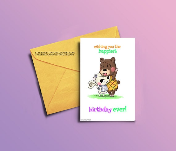 Birthday greeting card maple and marshall animal crossing m4hsunfo Images