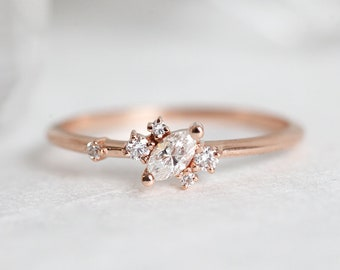 Rose Gold Engagement Ring, Marquise Ring, Marquise Diamond Ring, Cluster Diamond Ring, Delicate Wedding Band, Stacking Rose Gold Ring