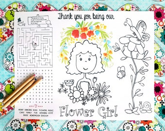 Wedding Coloring Pages Childrens Wedding Favor - Wedding Coloring Placemat - Printable Wedding Coloring Page - Party Favors - Flower Girl
