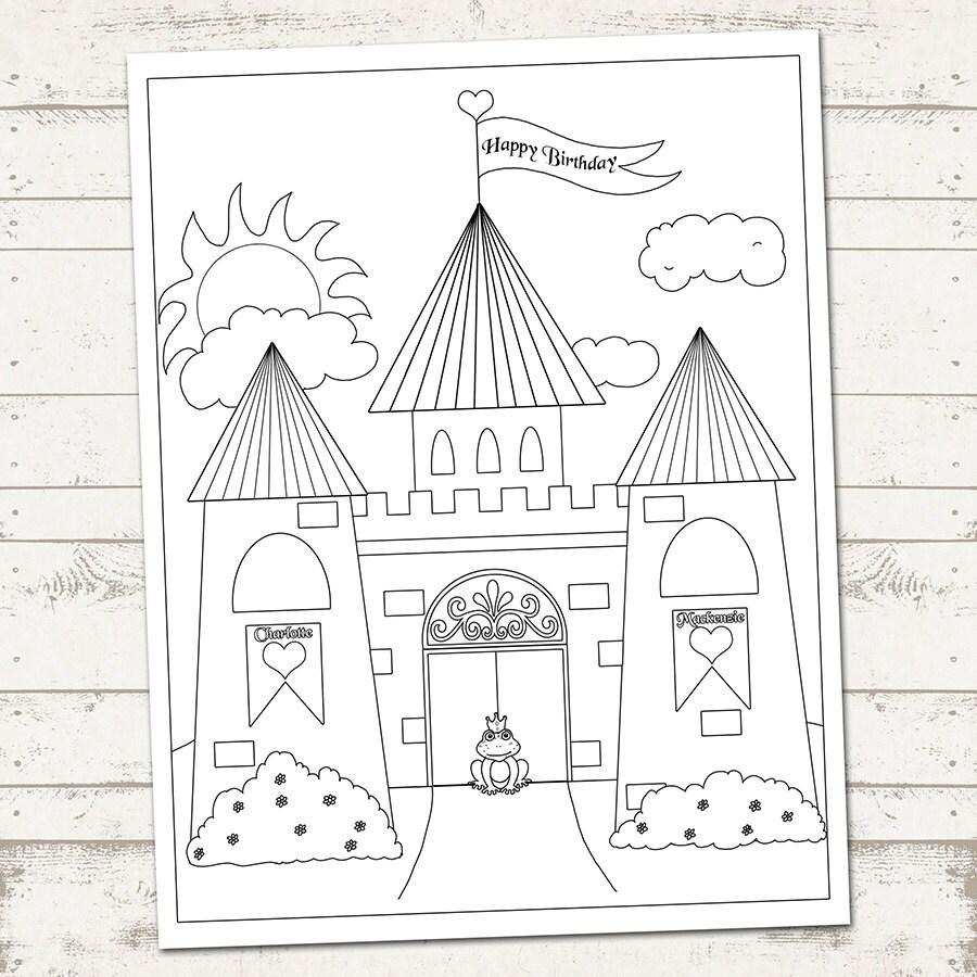 Castillo de fiesta Princess página para colorear feliz