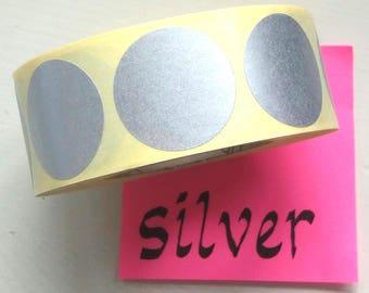 "Silver sticker dots, 3 cm/1.18"" (M), set of 25, envelope sticker, silver sticker, envelop seal, gift sticker, snail mail, junk journal"