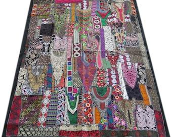 Boho bedding - patchwork quilt bohemian throw hippie bedroom decor vintage sari colorful bedspread gypsy bedding Indian bedspread king queen