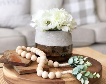 Wooden Bead Garland, Wood Bead Garland, Garland, Wood Beads, Bead Garland, spring decor,summer decor,wood decor,eucalyptus,rustic decor