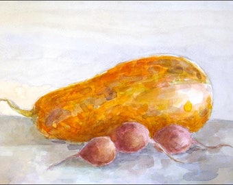 Still Life with Pumpkin and Radishes - Original Watercolor Painting - 12,2x7,5 inch