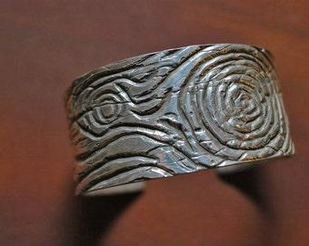 Faux Bois Woodgrain Cuff Bracelet in Sterling Silver