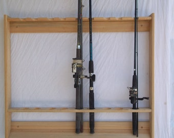 Wallmount Fishing Rod & Pole Rack ~ Unfinished Red Oak