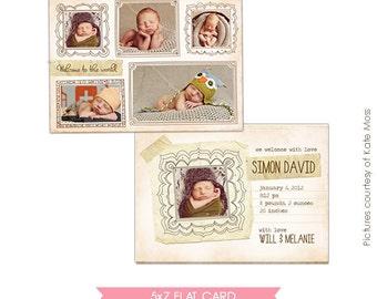 INSTANT DOWNLOAD - Birth announcement template - Born to love - E278