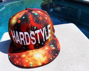 Orange Galaxy Hardstyle Snapback Hat