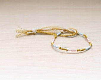 Friendship Bracelet Aqua Rose and Gold Embroidery Threads