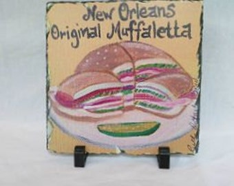 New Orleans Food - Muffaletta Sandwhich on Slate - New Orleans Art - Original Art - Slate Art Gift - New Orleans Gift - Home Decor Gift
