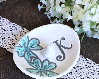 Oval Ring Holder Dish - Monogram Ring Bowl - Bridesmaid Ring Dish Gift - Floral Design Ring Bowl - Trinket Dish - Personalized Ring Dish