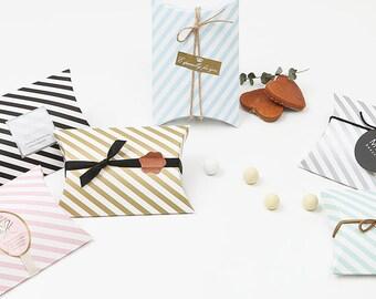 5 Stripe pillow boxes, pillow box, cute box, small gift box, wedding favor box, baby shower favor box ,birthday gift box ,merchandise box