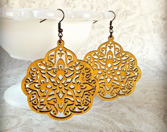 Moroccan Wood Earrings in Mustard Wood Earrings Filigree Earrings Big Earrings Ankara Accessory Tichel Accessory Valentines Gift