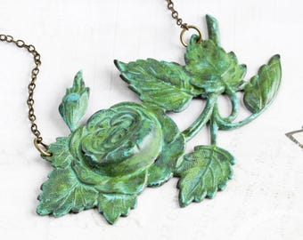 Green Patina Rose Necklace, Large Rose Pendant on Antiqued Brass Chain, Statement Necklace, Rustic Flower Jewelry