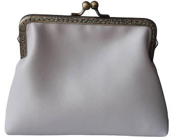 Handmade White Clutch Bag Vegan Leather Wedding Makeup Bag Birthday Gift Best Friend Gift for Women Handbag Purse Sister Gift for Her