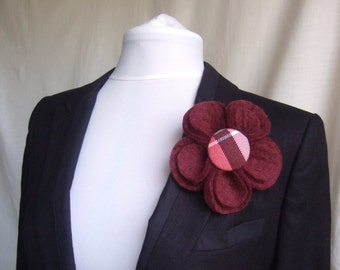 Flower Brooch in Wool Felt with Tartan Button Centre - Burgundy with Nisbet Rose Tartan