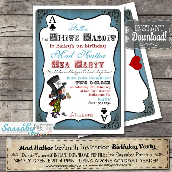 Mad Hatter Tea Party Invitation Alice in Wonderland