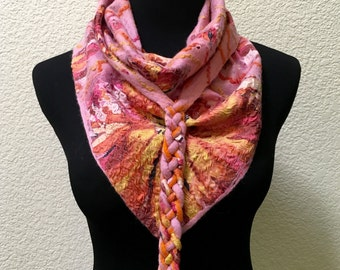 Nunofelted Nuno felting Scarf Kerchief Pink Rose Orange Yellow Merino Wool Silk Viscose Gift for any occasion