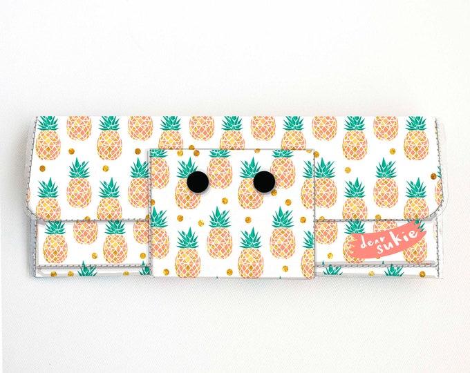 Vinyl Long Wallet - Tropical Summer / summer, pineapples, vegan, pretty, large wallet, clutch, card case, vinyl wallet, pink, green, fruit