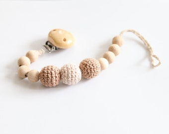 Pacifier clip, small simple dummychain holder, Teething toy with crochet wooden beads. Rattle for baby.