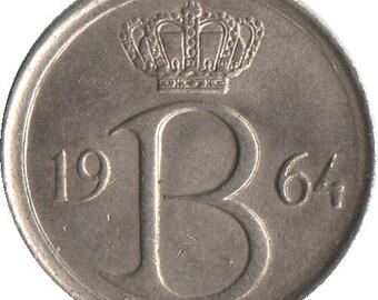 Belgium 25 centimes coin - 1970 - Monogram B - Initial B - Belgique - km 153 - 16 mm - like uncirculated