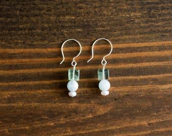 Fluorite Cube, Aquamarine, & Freshwater Pearl Earrings