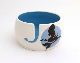 Mermaid yarn bowl - knit bowl - ceramic yarn bowl - large yarn bowl - crochet bowl - gift for knitter - knitting supplies - yarn storage
