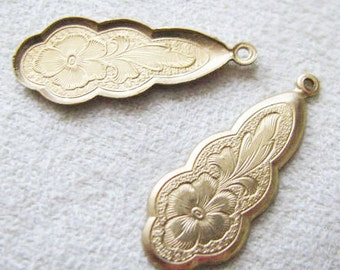 Raw Brass Version  Etched Floral DROPS 1 Ring