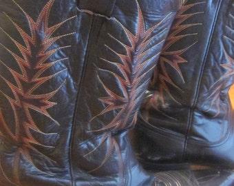 Vintage Nocona Men's Cowboy Western Pre-Used Boots Black Leather