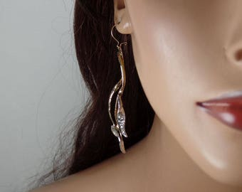 Sterling silver and gold fill dangle earrings, stems and leaves, statement