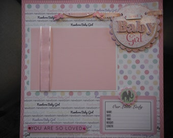 28 Baby Girl Premade 12x12 Scrapbook Pages for new mom shower gift with Coordinating Album