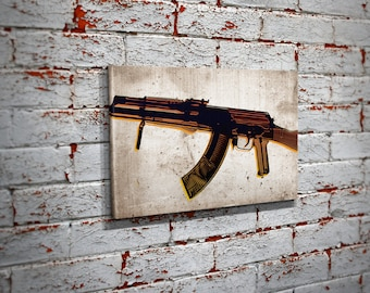 AK-47 X-Ray Pop Art Canvas Print - AK-47 Pro-gun Wall Art
