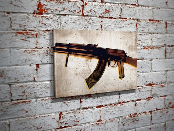 Ak 47 X Ray Pop Art Canvas Print Ak 47 Pro Gun Wall Art