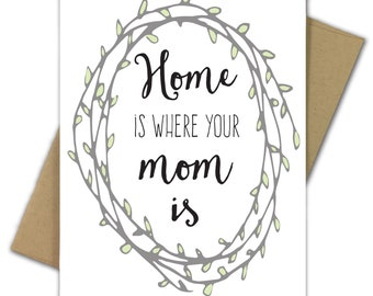 Greeting Card | Mother's Day Card | Home | Sweet | Wreath | Home Is Where Your Mom Is